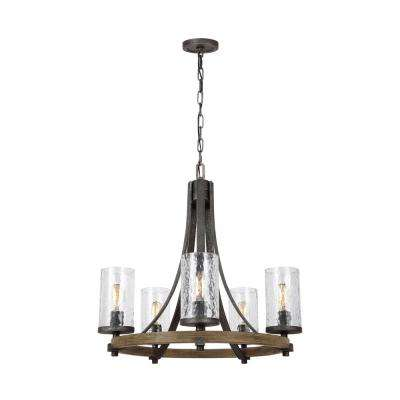 Angelo 24 in. W. 5-Light Distressed Weathered Oak Chandelier