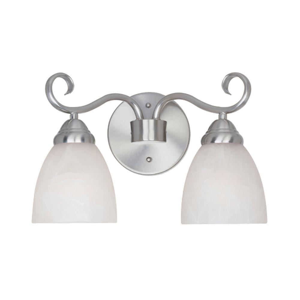 Belle Vista Collection 2-Light Satin Platinum Wall Mount Vanity Light