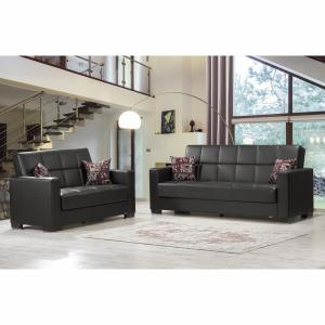 Remarkable Ottomanson Armada Black Leatherette Upholstery Love Seat Gamerscity Chair Design For Home Gamerscityorg