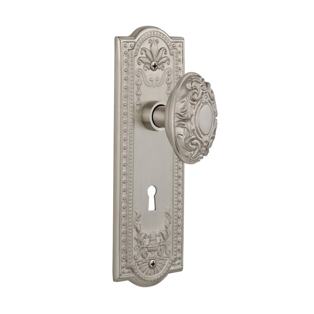 Meadows Plate with Keyhole Double Dummy Victorian Door Knob in Satin Nickel