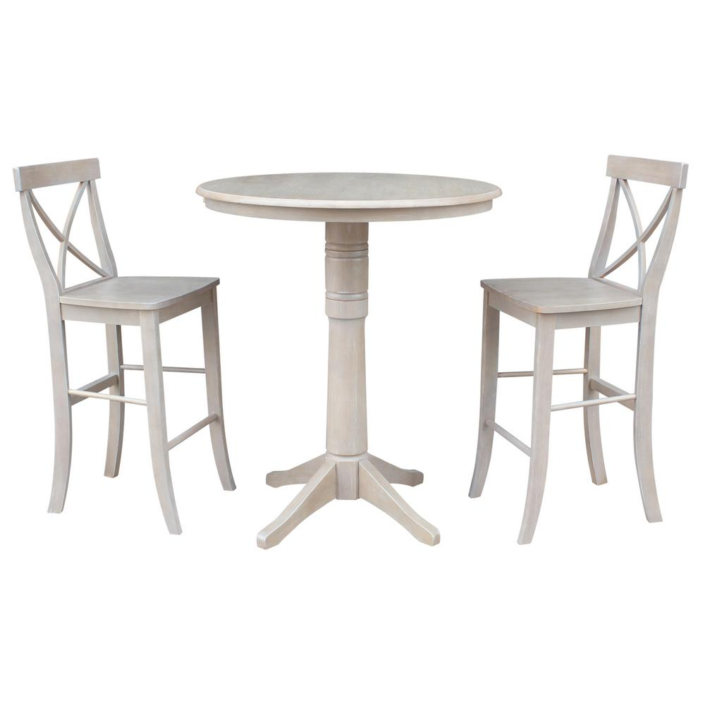 3 Piece 36 In Round 42 High Weathered Gray Olivia Table