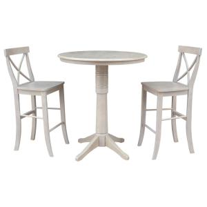 Olivia 3-Piece Weathered Taupe Gray Solid Wood Bar Table Set