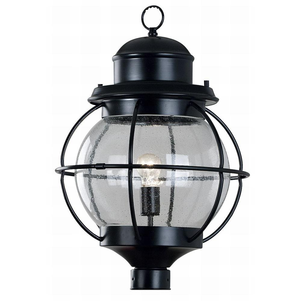 Kenroy Home Hatteras 1-Light 24 in. Black Post Lantern