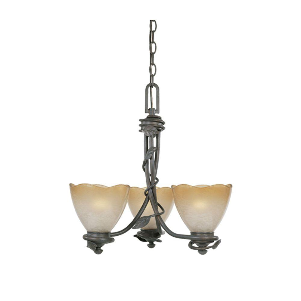 Belle Rose Collection 3-Light Old Bronze Hanging Chandelier