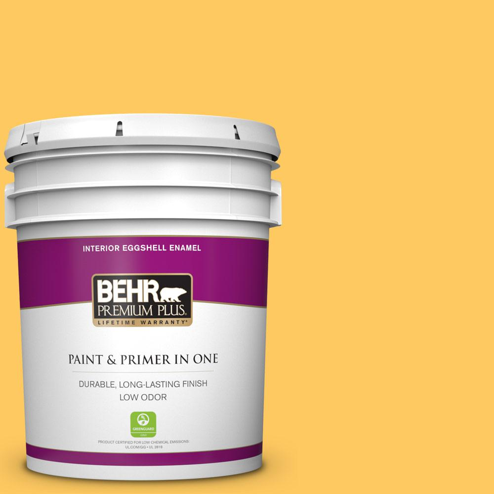 BEHR Premium Plus 5 gal. #P260-6 Smiley Face Eggshell Enamel Low Odor Interior Paint and Primer in One For tough, all-purpose paint with a touch of style, choose BEHR PREMIUM PLUS Low Odor, Paint & Primer in One Eggshell Enamel Interior paint. This soft, subtle sheen resists dirt and grime, so it's perfect for all of your home's busiest rooms. The soft, velvety, reflective appearance will also brighten up your hallways. Color: Smiley Face.