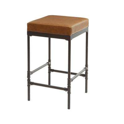 Powell 24 in. Pipe Fitting Upholstered Distressed Brown Barstool