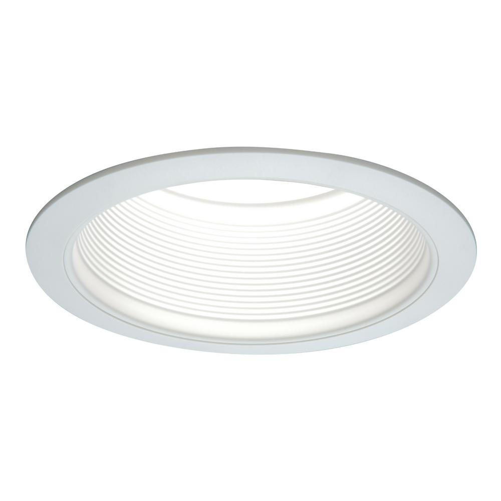 Recessed Lighting White Recessed Ceiling Light Fixture Trim with Tapered Baffle and