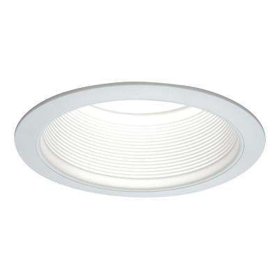 E26 Series 6 in. White Recessed Ceiling Light Fixture Trim with Tapered Baffle and White Ring Overlay