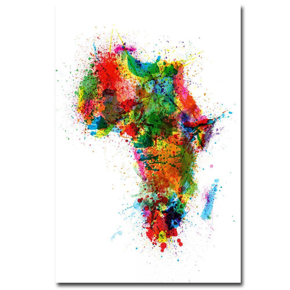 Trademark Fine Art 22 in. x 32 in. Africa - Paint Splashes Canvas Art