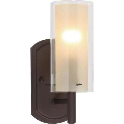 Regina 1-Light 4.25 in. Antique Bronze Bathroom Vanity Wall Sconce Mount Outer Clear & Inner Amber Glass Cylinder Shades