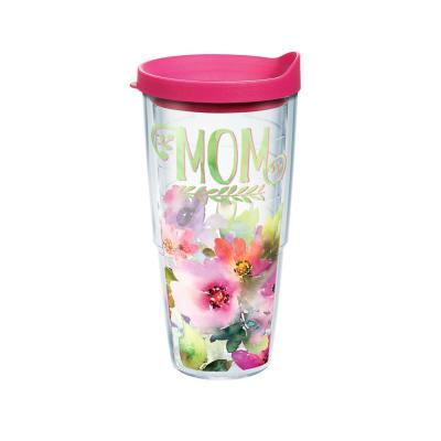 Mom Watercolor Floral 24 oz. Double Walled Insulated Tumbler with Travel Lid