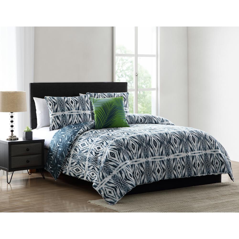 Paxton Blue Geometric Print Twin Comforter Set