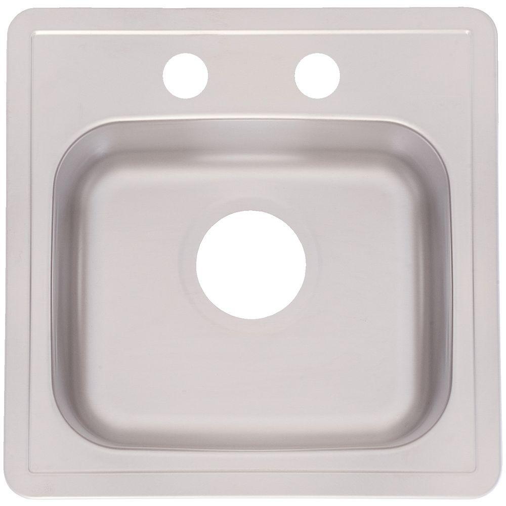 franke drop in stainless steel 15 in 2 hole single bowl kitchen sink franke drop in stainless steel 15 in 2 hole single bowl kitchen      rh   homedepot com