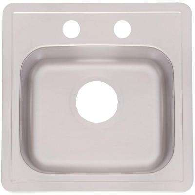 Drop-In Stainless Steel 15.in 2-Hole Single Bowl Kitchen Sink