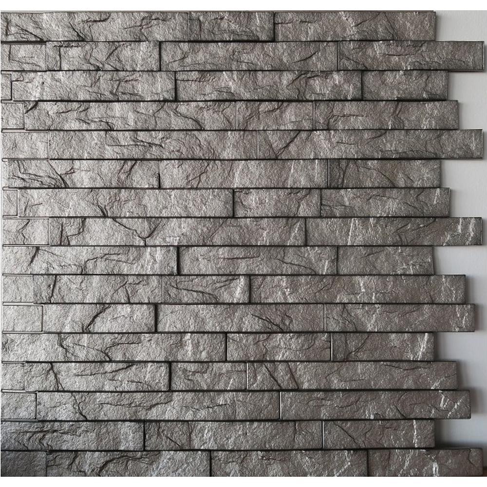 Retro Art Ledge Stone 24 in  x 24 in  Sparkled Grey PVC Wall Panel