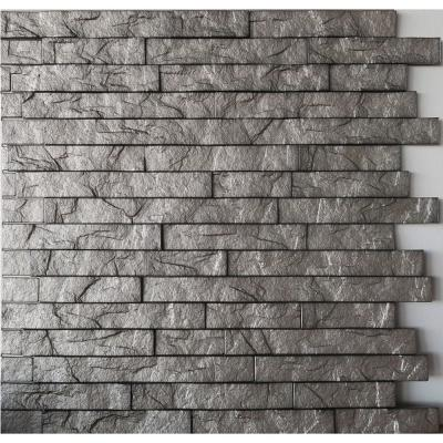 Ledge Stone 24 in. x 24 in. Sparkled Grey PVC Wall Panel