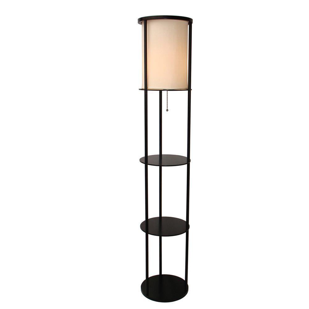 adesso stewart shelf black floor lamp 3117 01 round real wood new 62 1 2 in pull 798919311712 ebay. Black Bedroom Furniture Sets. Home Design Ideas