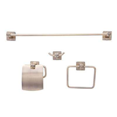 Reno Series Euro 4-Piece Bath Hardware Set in Brass