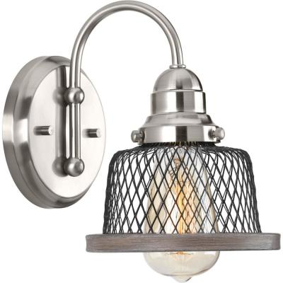 Tilley Collection 1-Light Brushed Nickel Bath Sconce with Mesh Shade