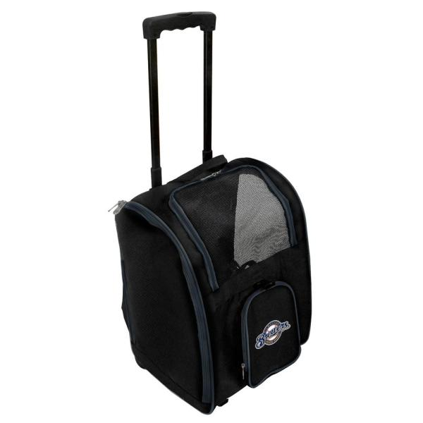 Denco MLB Milwaukee Brewers Pet Carrier Premium Bag with wheels in Navy