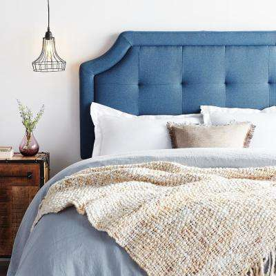 Upholstered Scoop-Edge King Navy Headboard with Square Tufting