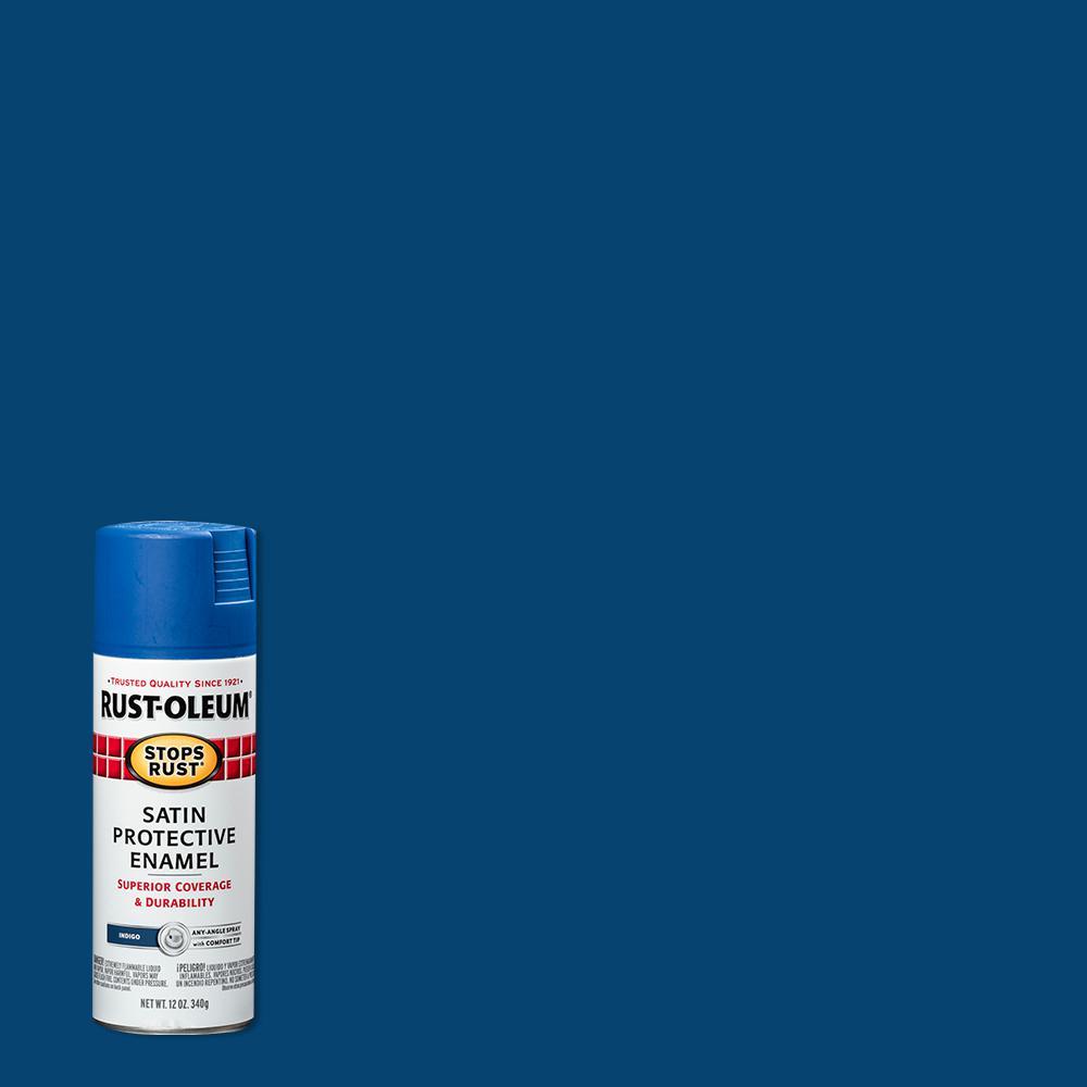 Rust-Oleum Stops Rust 12 oz. Protective Enamel Satin Indigo Spray Paint (6-Pack)