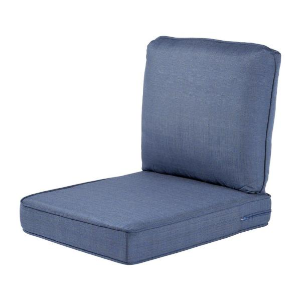 Hampton Bay Spring Haven 23 5 In X 26 5 In 2 Piece Outdoor Lounge Chair Cushion In Standard Blue 89 20301 The Home Depot