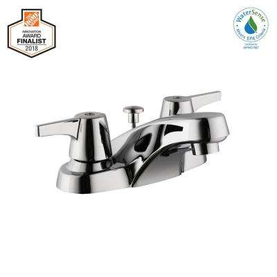 Aragon 4 in. Centerset 2-Handle Low-Arc Bathroom Faucet with Pop-Up Drain in Chrome