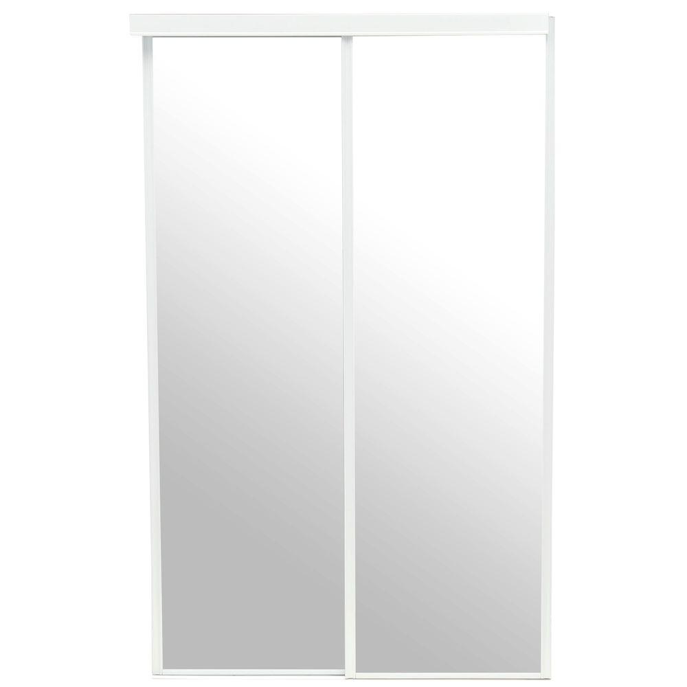 Pinecroft 48 in x 80 in mirror euroframe white frame for for Mirror 80 x 80