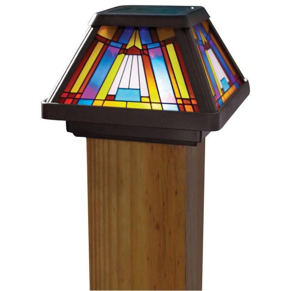 Inglenook Solar Multi-Color Outdoor Integrated LED Post Cap Deck Light