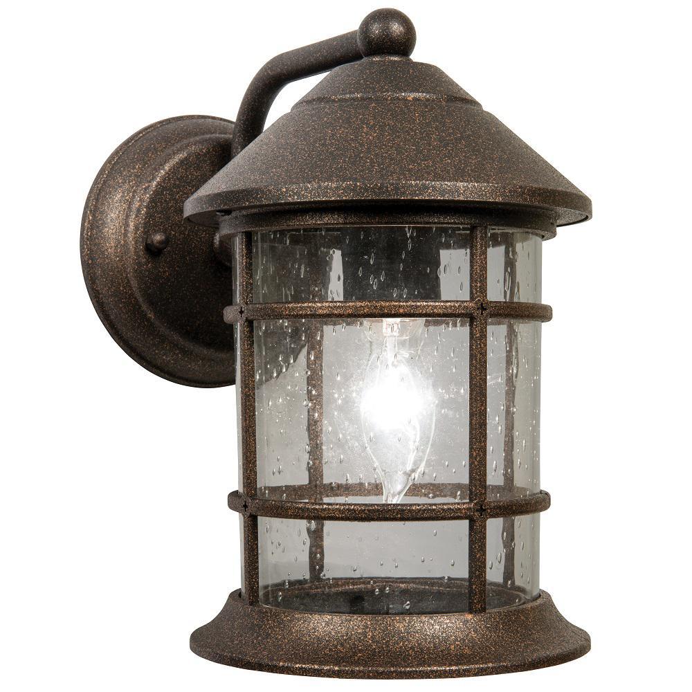 Sunset 1-Light Bronze Outdoor Wall Lantern