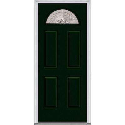 36 in. x 80 in. Heirloom Master Right-Hand Inswing 1/4-Lite Decorative Painted Fiberglass Smooth Prehung Front Door