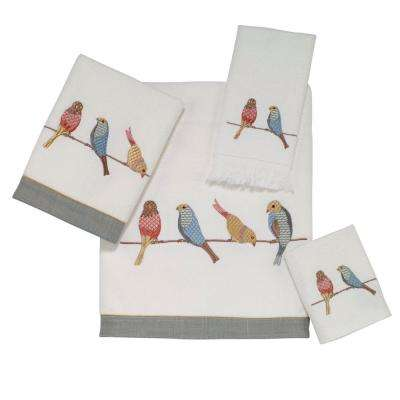 Bird On Wire 4-Piece Bath Towel Set in White