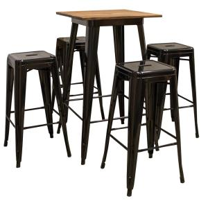 Stupendous Amerihome 5 Piece Pub Height Black Table Set With Rosewood Caraccident5 Cool Chair Designs And Ideas Caraccident5Info