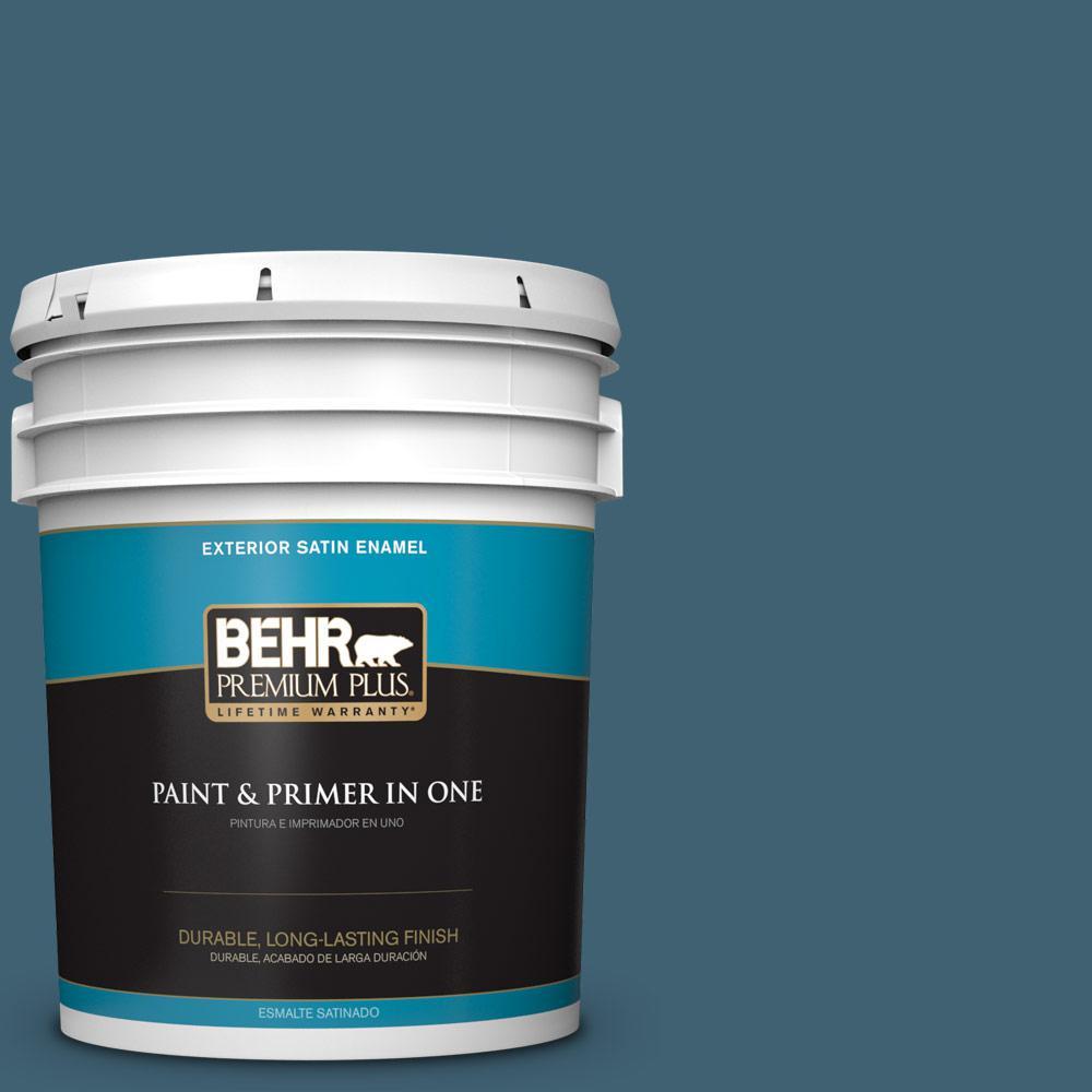 5 gal. #PPU13-18 Bermudan Blue Satin Enamel Exterior Paint