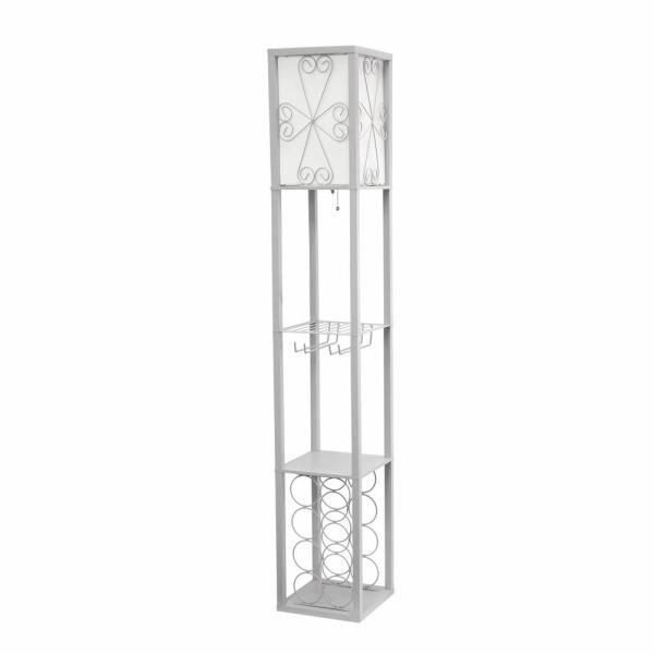 62.75 in. Gray Floor Lamp Etagere Organizer Storage Shelf and Wine Rack with Linen Shade