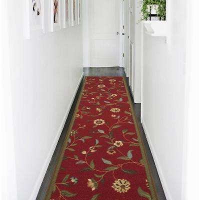 Ottohome Collection Floral Garden Design Dark Red 2 ft. x 7 ft. Non-Skid Runner Rug
