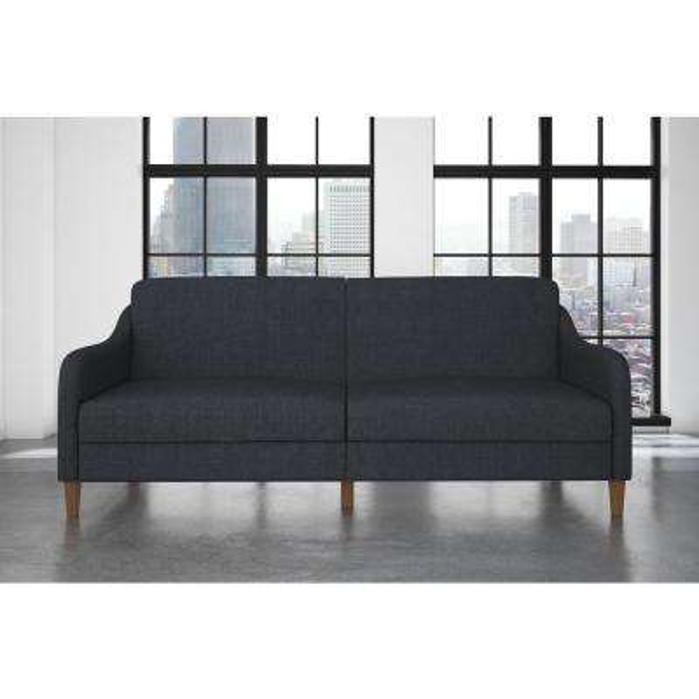 jasper coil navy linen twin double size futon blue   futons  u0026 sofa beds   living room furniture   the home depot  rh   homedepot