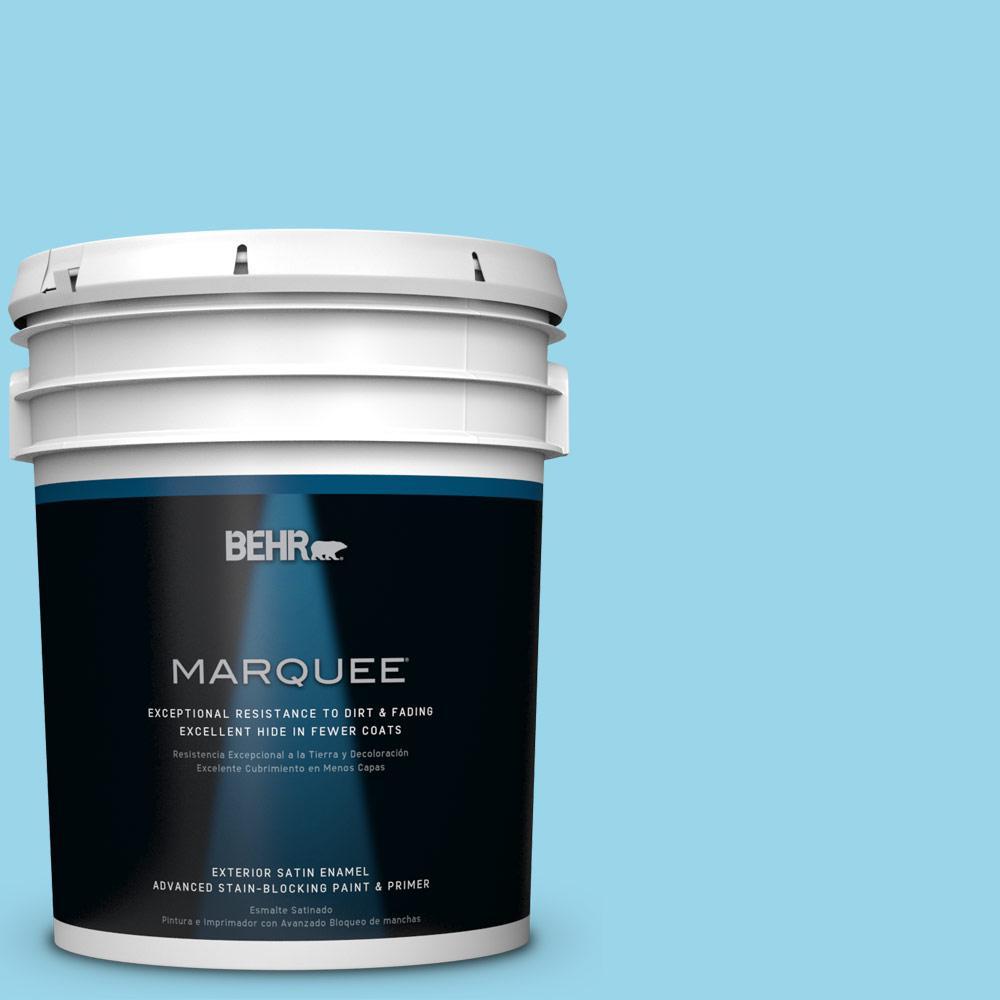5-gal. #P490-2 Blue Sarong Satin Enamel Exterior Paint