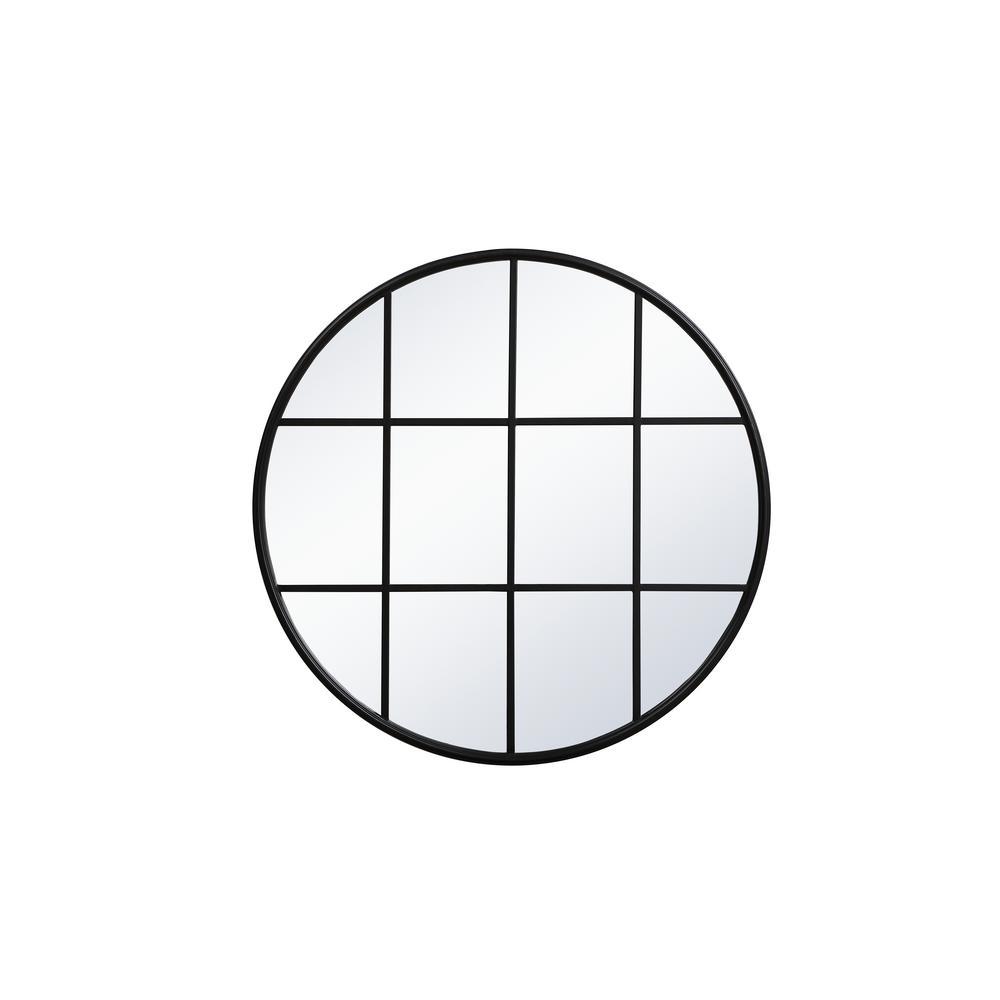Medium Round Black Contemporary Mirror (36.25 in. H x 36.25 in. W)
