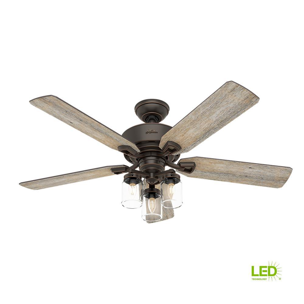 Hunter Ceiling Fans Lighting The Home Depot Outdoor Fan Wiring Diagram Indoor Onyx Bengal With Light