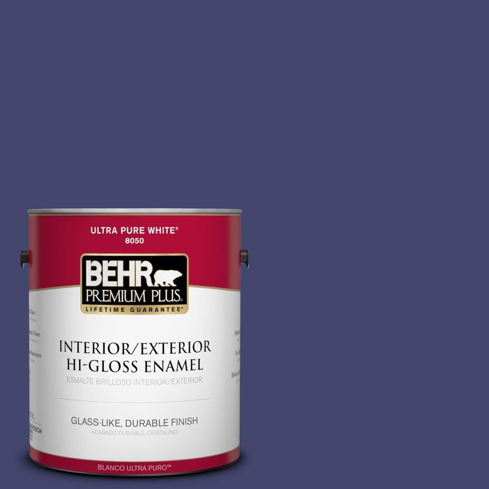 BEHR Premium Plus 1-gal. #T11-19 Starlit Night Hi-Gloss Enamel Interior/Exterior Paint