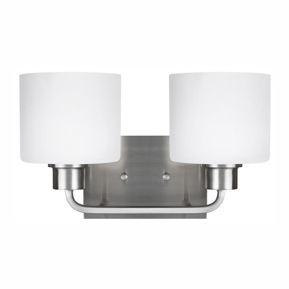 Sea Gull Lighting Canfield 2-Light Brushed Nickel Bath Light with LED Bulbs