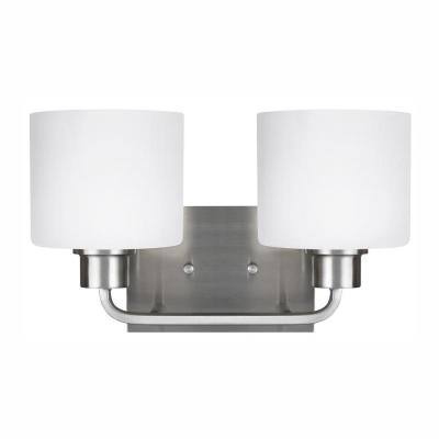Canfield 2-Light Brushed Nickel Bath Light with LED Bulbs