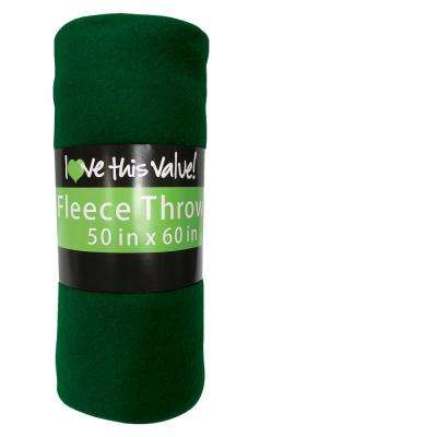 50 in. x 60 in. Dark Green Super Soft Fleece Throw Blanket