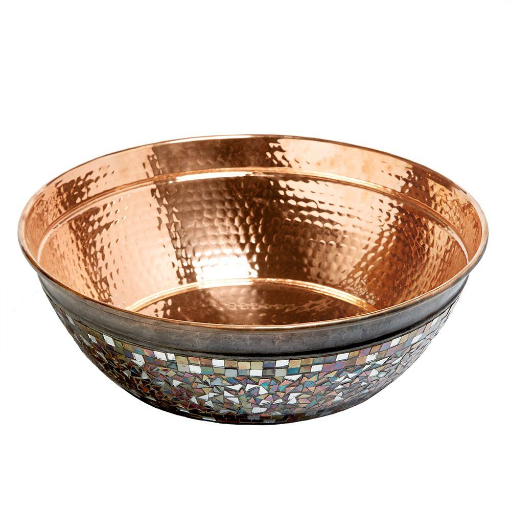 Superbe SINKOLOGY Bardeen Pure Copper Vessel Sink In Naked Copper With Glass Mosaic  Exterior