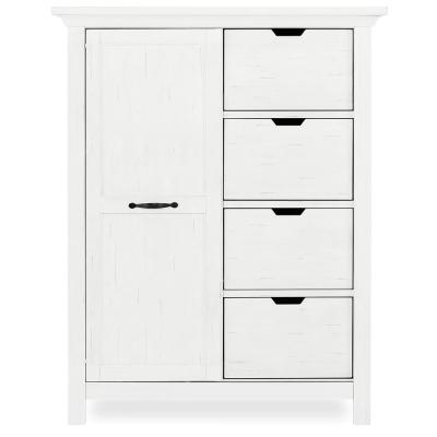 Belmar 4-Drawer Weathered White Chest with Shelves