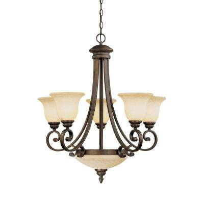 7-Light Rubbed Bronze Chandelier with Turinian Scavo Glass