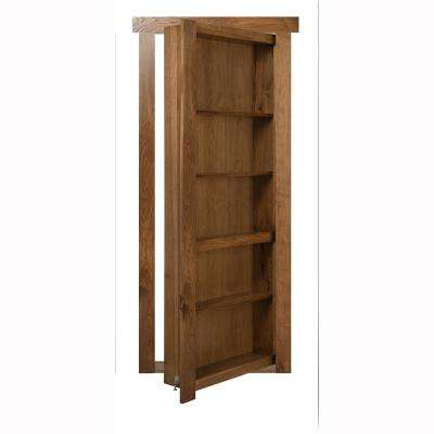 36 in. x 80 in. Flush Mount Assembled Hickory Medium Stained Left-Handed Out-Swing Solid Core Interior Bookcase Door
