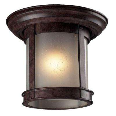 Lawrence Collection 1-Light Outdoor Weathered Bronze Flush Mount